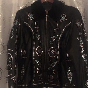 Black leather jacket rhyme stones 2x